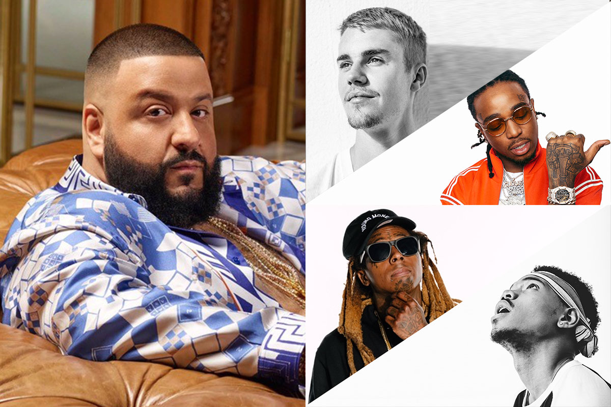 "DJ Khaled featuring Justin Bieber, Quavo, Chance the Rapper and Lil Wayne ""I'm the One"""